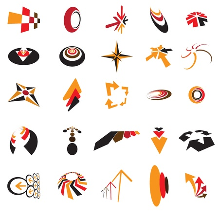 Collection of colorful business identity and brand logo icons created using arrows, direction symbols and signs, circles, curves, etc. These generic icons can be used in business cards, letter head.