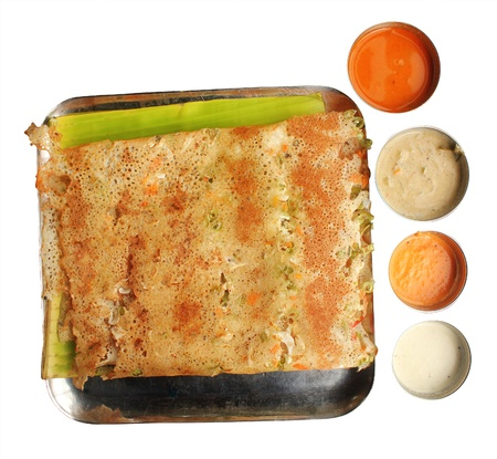 Rava Vegetable Masala Dosa  - one of the most popular south indian breakfast served with different types of chutney, sambar and ghee. Isolated on white. Stock Photo - 14194359