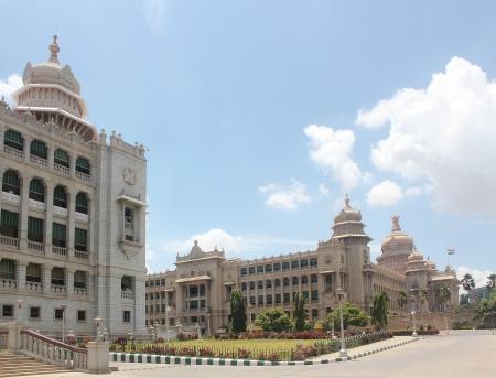 Landmark monuments & iconic structures of garden city of bangalore built using granite rocks - Karnataka legislative assembly buildings vidhana soudha & vikas soudha at cubbon park in bengaluru, India