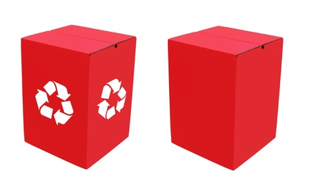 Two empty eco-friendly cardboard boxes in bright red color, one with plain sides and the other with white recycle symbol, made of recycled and waste paper and ready for packaging photo