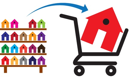 Concept of buying a house or property on sale. The shopping trolley with a house in it is symbolic of the sale. The rack of colorful houses show residences and property available for purchase Vettoriali