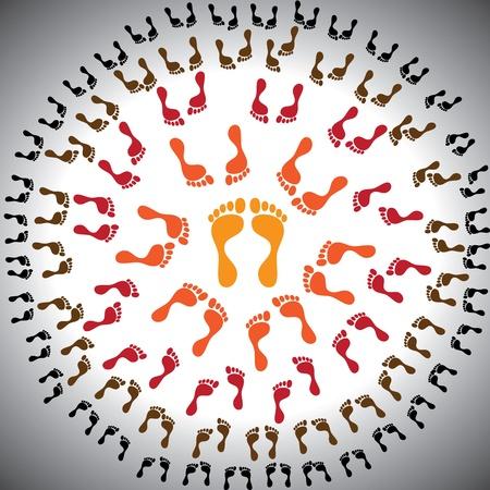 followers: Concetto di leadership, i livelli di gestione e di gerarchia nella configurazione aziendale. La figura mostra una persona il capo comandante al centro e circondata da subordinati o seguaci Vettoriali