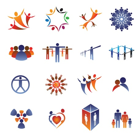 Collection set of icons and design elements related to community, office staff, family, couple Vector