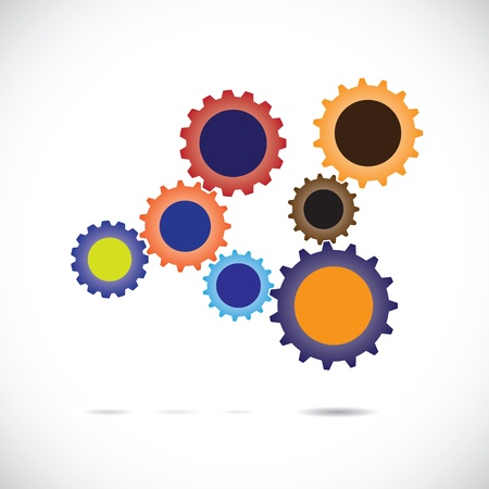 complement: Colorful abstract cogwheels in controlled rotating motion implying balanced   synchronous system  Each cog wheel complements the cogwheels it is associated with   works as a team for overall balance