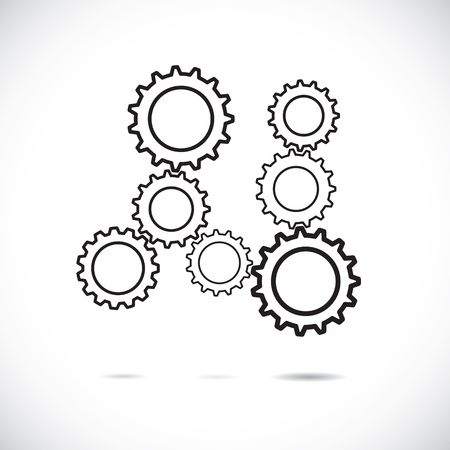object complement: Abstract cogwheels in black and white showing controlled rotating motion implying harmonious & balanced working system. Each gear wheel plays its role and works as a team in synchronous motion