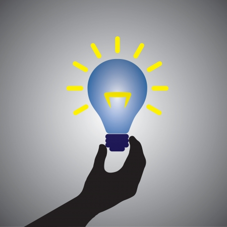 Graphic of person holding colorful bright incandescent light bulb- can be conceptually used for problem solving, spreading light, innovation & discovery, idea, finding solution, trouble shooting, etc. Vector