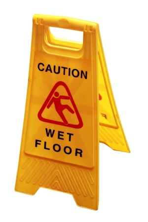 slippery: Wet floor sign board to caution people about danger and risk isolated on white with clipping mask Stock Photo