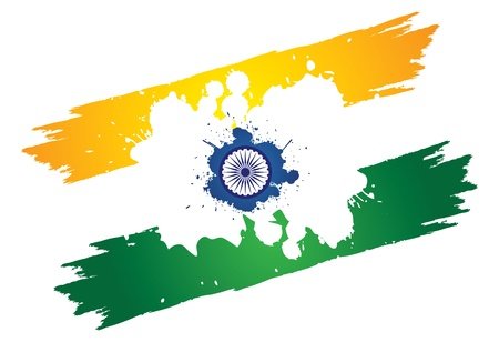 Indian tri-color national flag in orange or saffron, white and green color painted using paint brush and splash of colors. The center contains asoka chakra on a blue splash of paint. Vector