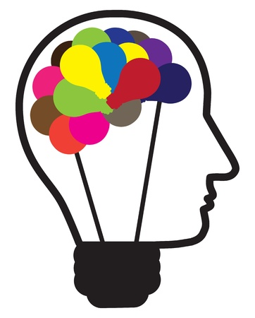 Illustration of idea light bulb as human head creating ideas shown by multicolor bulbs in shape of brain. Also can be used as concept for problem solving and out of the box thinking. Vector