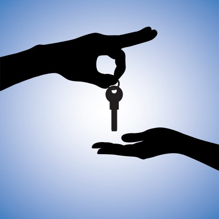 key in chain: Concept illustration of buying and selling house in real estate market. The hand holding the key chain is the seller or the owner and the arm receiving the house key is the buyer or purchaser. Illustration