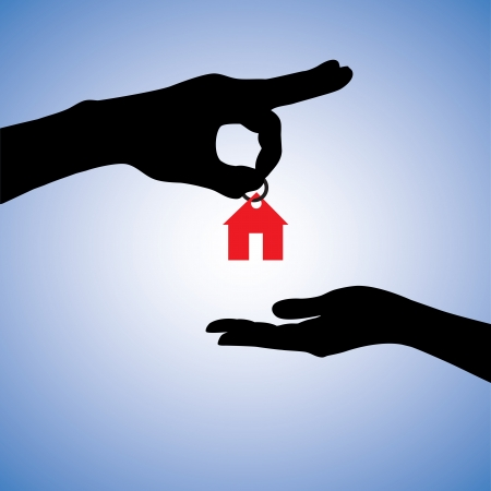 Concept illustration of selling or gifting house in real estate market. The hand holding a red house key chain is the seller or the owner and the arm receiving the house key is the buyer or purchaser. Vector