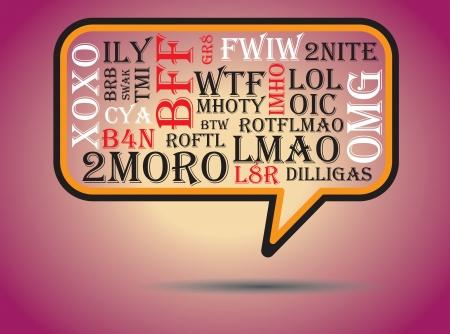 De meest gebruikte chat en online acroniemen en afkortingen op een tekstballon. Inbegrepen De acroniemen zijn wtf, BRB, lol, naar mijn bescheiden mening, btw, rotfl, FYI, thx, zo snel mogelijk, omg, afk, bff, vmek, lmao, 2moro, 2nite, l8r, dilligas, TMI Stock Illustratie