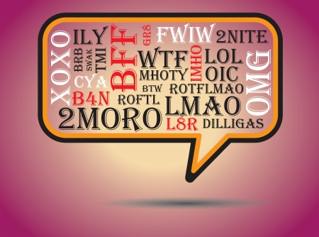 acronyms: Most commonly used chat and online acronyms and abbreviations on a speech bubble. The acronyms included are wtf,brb,lol,imho,btw, rotfl,fyi,thx,asap,omg,afk,bff,swak,lmao,2moro,2nite,l8r,dilligas,tmi