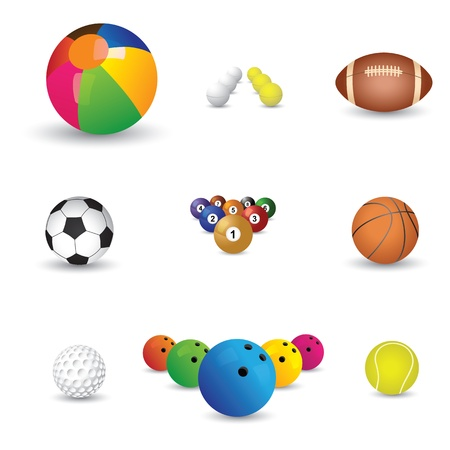 Collection of colorful sports balls illustration  The graphics include balls from sports like tennis, soccer, football, golf, table tennis, rugby, bowling, basketball, billiards and snooker  Vector