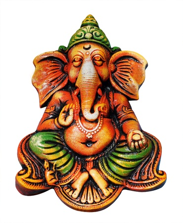 beautiful, artistic, &amp, colorful ganesha idol who is one of the most popular hindu gods isolated on white. Lord ganesha is also known as vinayaka, vigneshwara, omkara, ganapati, etc. photo