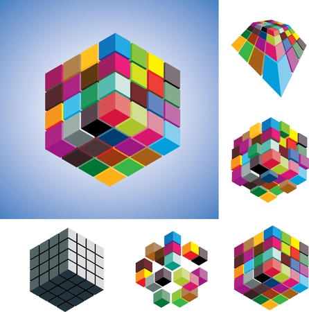 Illustration of colorful and mono-chromatic 3d cubes arranged in various ways showing them in different perspective and view angles. Vector