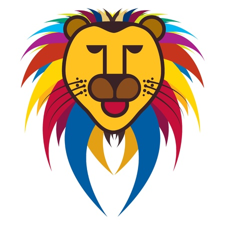 fearless: Beautiful colorful illustration of king of jungle - the lion on white background and the mane is multicolor  This big cat is a fearless predator and revered for its courage Illustration