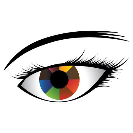 eyebrow makeup: Illustrazione colorato dell'occhio umano con iride multicolore che mostra quasi colori dell'arcobaleno e pupilla nera al centro. Il grafico (occhio ragazza) � stato creato su uno sfondo bianco