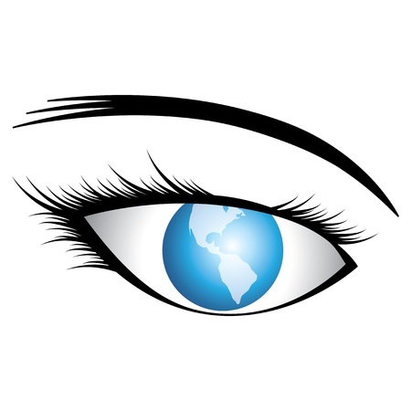 conceptually: Illustration of human eye with world as iris conceptually representing world vision or universal vision