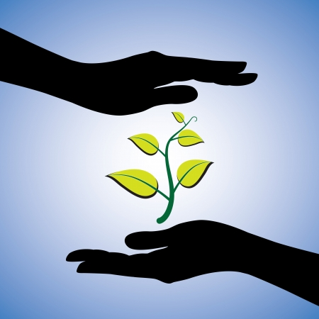 represent: Concept illustration of saving the nature. This graphic uses female hand silhouettes and a plant to represent the concept of protecting ecology and environment with blue background