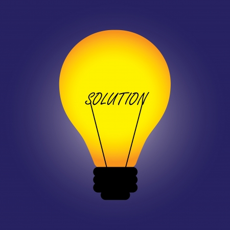 Conceptual illustration of bulb with filament replaced by solution word Vector