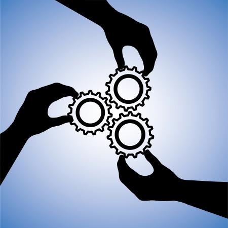 manos unidas: Ilustración del concepto de trabajo en equipo y las personas que cooperan para el éxito del equipo. El gráfico incluye siluetas de manos que sostienen las ruedas dentadas junto indicando la colaboración y unir esfuerzos para lograr el éxito Vectores