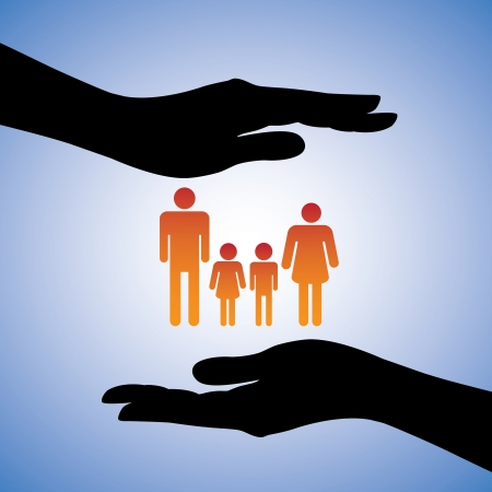 Concept illustration of protecting family of four(parents and two children). The graphic includes silhouettes of female's hand along with figures of dad, mom, son and daughter Vector