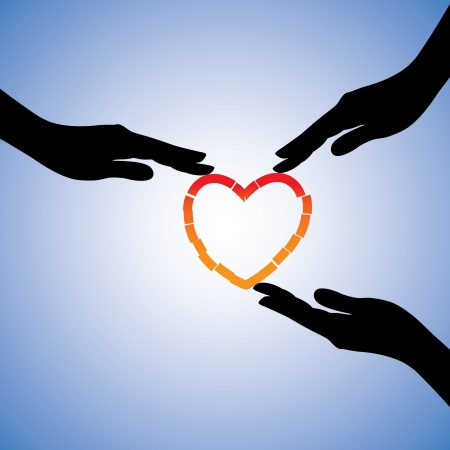corazon roto: Ilustración del concepto de la curación del corazón roto El gráfico muestra que apoyan manos que ayudan corazón recuperarse del dolor emocional y el trauma Vectores