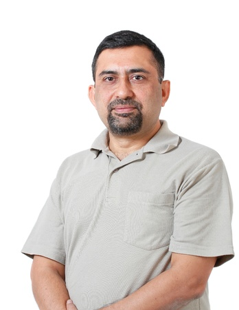 adult indian: Handsome and smart indian corporate manager of middle age looking with confidence and determination   shot in studio with white background