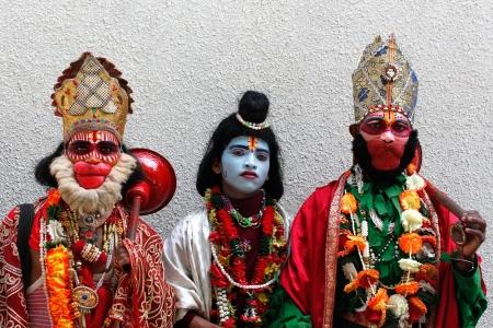 Bangalore, India - June 11  Group of young men impersonating indian gods like hanuman, ram rama , vali on June 11, 2011 in Bangalore, India Stock Photo - 15632490