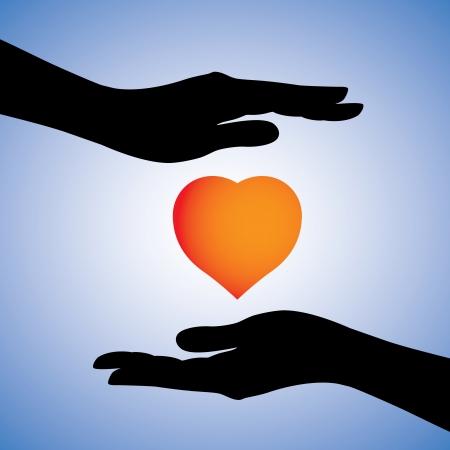Ilustración del concepto de protección de la enfermedad cardíaca de la enfermedad El gráfico también se puede utilizar para mostrar la seguridad emocional de corazón-break La gráfica tiene dos manos femeninas protegen un símbolo del corazón