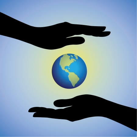 Concept illustration of protecting saving earth from pollution, degradation   global warming  The graphic contains female hands silhouette protecting earth planet  Vector