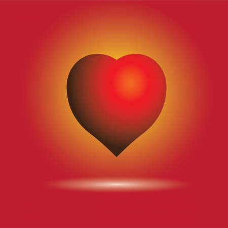 Illustration of beautiful glossy heart symbol in brilliant red with yellow background light  on red color in the backdrop  This can represent valentine Stock Vector - 15677819
