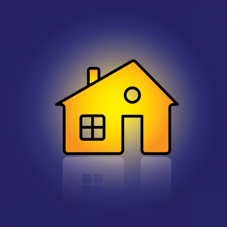 Illustration of house home property icon with reflection  The graphic can be representative of real estate business, residential property business, buy, sell or rent online, etc Stock Vector - 15677821