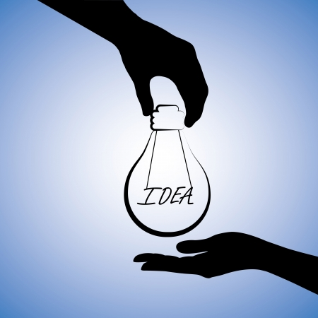 Concept illustration of one person providing idea to the other. The graphic uses a light bulb with filament replaced with word idea to convey the concept of problem solving or finding solution Vector