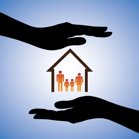 védelme: Fogalma illusztrációja biztonsága ház és a család. A grafikus szimbólumokat tartalmaz az otthoni  lakóhely és a szülők  gyerekek által lefedett női kéz sziluettek. Ez képviseli fogalmakat, mint a biztosítási
