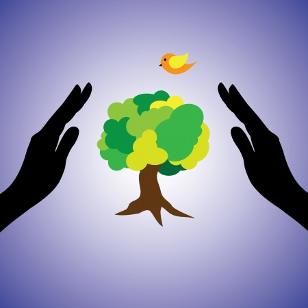 Concept illustration of saving the nature and environemnt. This graphic uses female hand silhouettes, a tree & bird. This can represent the concept of conserving ecology, saving nature from pollution Stock Vector - 15702857
