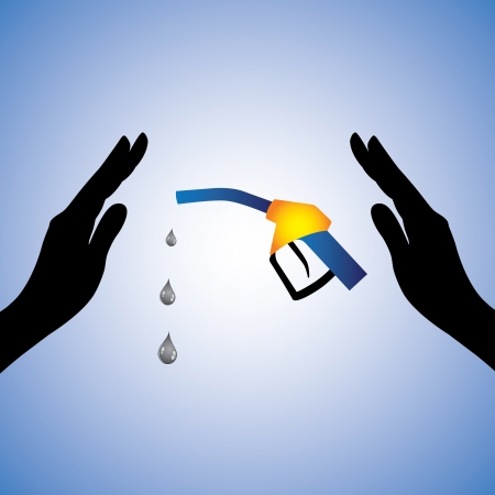 Concept illustration of saving/conserving oil(gas). The graphic contains female hands silhouette and nozzle with oil droplets dripping from it.  Stock Vector - 15733429