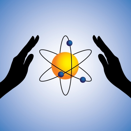 nucleus: Concept illustration of savingconserving power. The graphic contains female hands silhouette and atom with nucleus and electrons in the center representing atomicalternative energy