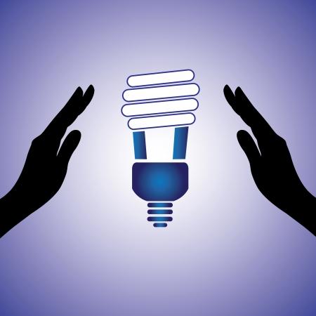 thrift: Ilustraci�n del concepto de ahorro  conservaci�n de energ�a. El gr�fico contiene silueta manos femeninas e imagen L�mpara fluorescente compacta que utiliza energ�a muy inferior para la iluminaci�n
