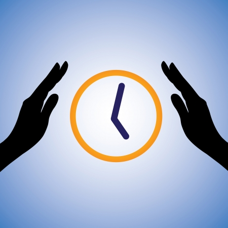 Concept illustration of saving/conserving time. The graphic contains female hands silhouette and watch/clock showing time. This can represent concept like being efficient, saving time, doing work fast