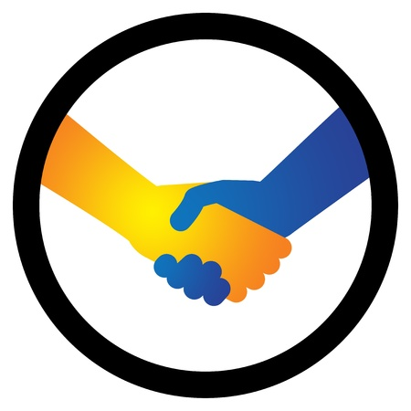 professional relationship: Concept illustration of hand shake between two people in orangeyellow and blue colors. The handshake represents the concept of agreement in business, greeting gesture or friendship