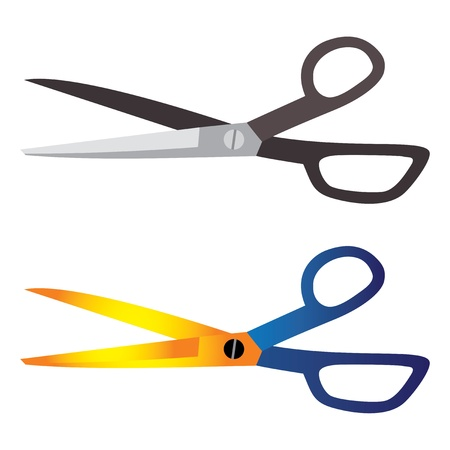 Illustration of hair-cutting, tailoring, craft tool scissors  One scissor is in shades of grey and black and the other is in yellow, orange and blue Vector