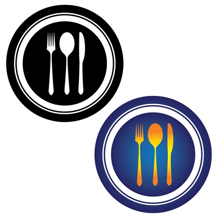 black and white image: Illustration of spoon, fork, knife and plate in black and white and in yellow, orange and blue colors on white background  This can be used by hotels, restaurants, inns and online websites