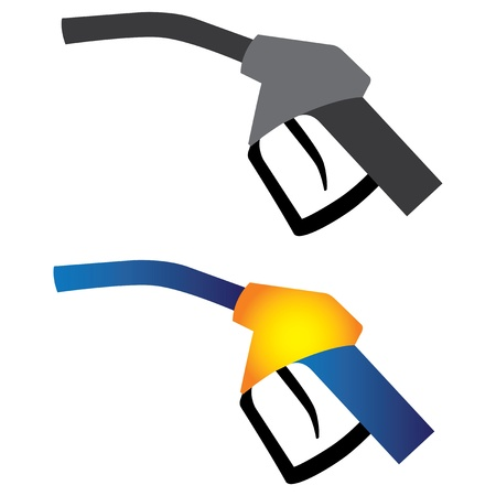 refuel: Illustration of petrol nozzle used for gas filling in black   white and in yellow, orange and blue colors on white background  This can be used by petroleum industry, oil and gas companies  Illustration