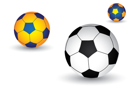 3d ball: Illustration of soccer football  ball in black and white as well as yellow and blue colors  The balls graphic has shadow and is on white background