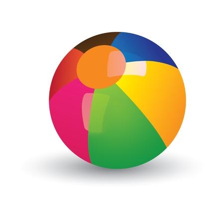 Illustratie van kleurrijke glanzende strandbal. De ballen grafische heeft gradiënten van rood, geel, blauw, groen en andere levendige kleuren en en is geplaatst op een witte achtergrond Vector Illustratie