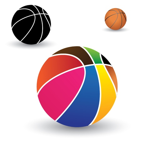 Illustration of beautiful colorful basket ball along with brown and black(and white) balls. The colors of the ball include red, yellow, orange, blue, pink, green, etc. Stock Vector - 15743963