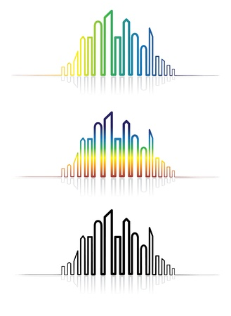Illustration of colorful metropolitan city skyline. The graphic is created using line to outline the downtown skyscrapers in rainbow colors and in black & white with reflections.  Stock Vector - 15864503