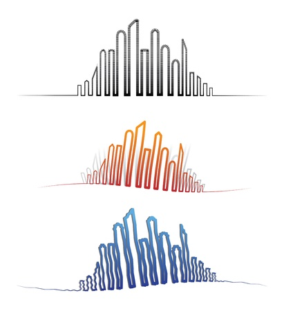 Illustration of downtown city skylines in different perspectives. The graphic is created using twisted, jagged, lines to outline the downtown skyscrapers in various shapes with shadows Stock Vector - 15864521